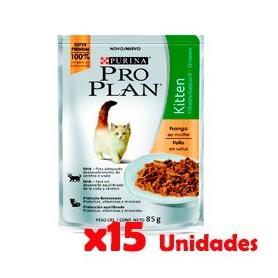 Pack 15 Unidades Pro Plan Pouch Gatitos Sabor Pollo 85grs