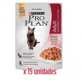 Pack 15 Unidades Pro Plan Pouch Gato Sabor Salmon 85grs