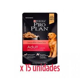 Pack 15 Unidades Pro Plan Pouch Carne en Salsa 100grs