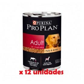 Pack 12 Latas Pro Plan Adulto Pollo & Arroz 368grs